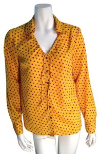 Jaclyn Smith Yellow Shirt Top Marigold