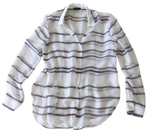 Theory Silk Split-side Striped Button Down Shirt White