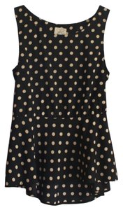 Nordstrom Girly Polka Dot Peplum Top Black and White