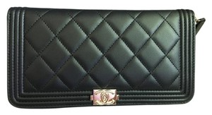 Chanel Le Boy Lambskin Gold Hardware Zip-Around