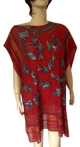 Zandra Rhodes vintage hand embroidered Top Red