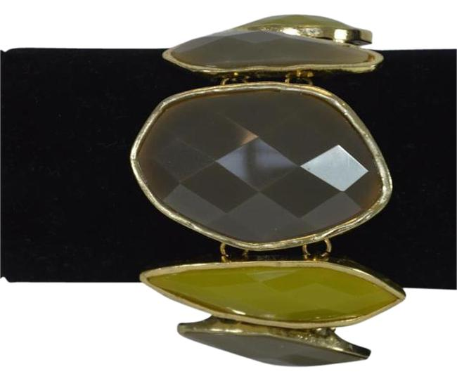 """Yellow Gold Designer Fashion Plated & Lucite Stones 7"""" Bracelet Yellow Gold Designer Fashion Plated & Lucite Stones 7"""" Bracelet Image 1"""