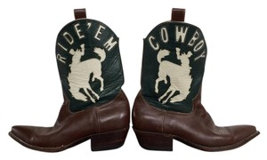 Rocketbuster Boots Handmade Leather Cowboy Brown + Green + White Boots