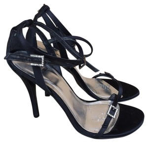 Stuart Weitzman Rhinestone Buckle Ankle Strap Satin Strappy Black Sandals