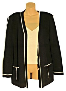 St. John Knit St Black and Tan Blazer