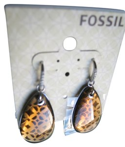 Fossil NEW Fossil Drop EARRINGS LEVERBACK Stainless Steel Rhinestones Filigree $56