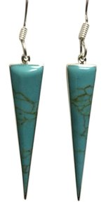 Other Turquoise Triangle Sterling Silver French Hook Earrings