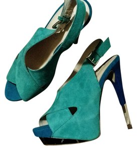 Boutique 9 Suede Suede Stiletto Aqua Blue Color Block Platforms