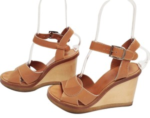 Chloe Platform Leather Straps Light Brown Wedges