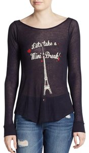 Wildfox Graphic Eiffel Tower Navy Blue T Shirt