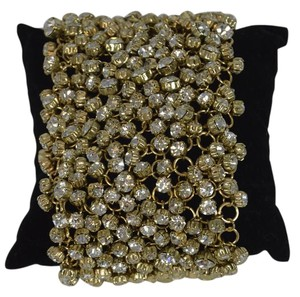 DESIGNER FASHION YELLOW GOLD PLATED RHINESTONE MESH BRACELET 7