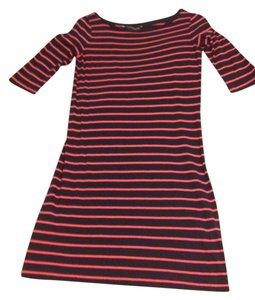 French Connection short dress Navy and pink Preppy Cotton Striped on Tradesy