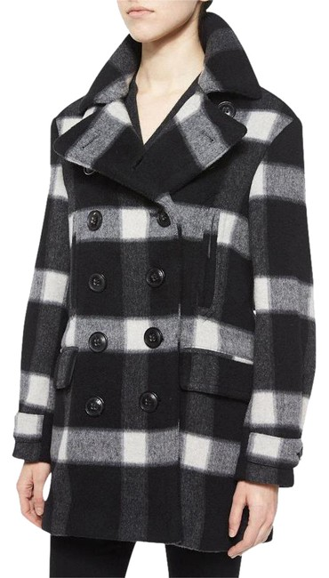 Item - Black/Grey/White Brit Weltford Plaid Double Breasted Button Coat Size 10 (M)
