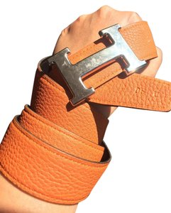 Hermès Hermes Black and Orange Reversible Belt Strap