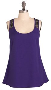 Modcloth Lace Sheer Top Purple