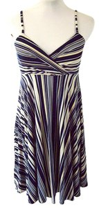 BCBG Paris short dress Navy and Yellow Striped Stripe Spaghetti Strap Striped Beach on Tradesy
