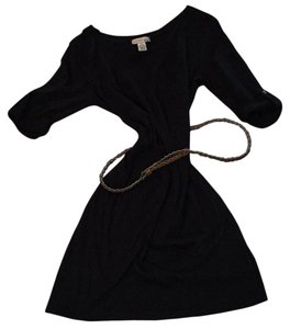 Body Central short dress Black with Brown woven Belt on Tradesy