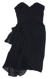 Badgley Mischka Black Gathered Chiffon Dress