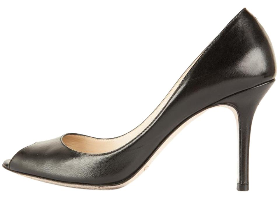Jimmy Choo Black Leather Peep Pumps Toe Classic Pumps Peep 8f2410