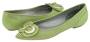 Via Spiga Silver Hardware Perforated Green Flats