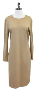 St. John Camel Wool Long Sleeve Dress
