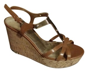 Marc Fisher Wedge Gold Gold Accents Brown Wedges