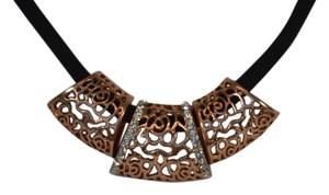 DESIGNER FASHION BLACK SUEDE CHOKER ROSE GOLD PLATED CUBIC ZIRCONIA ON SALE