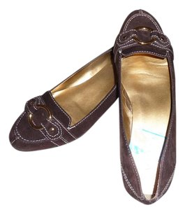 Kelly & Katie Chocolate Brown, White and Gold Flats