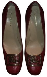 Burberry Leather Classic Crocodile Nova Check Closed Toe Red Pumps