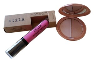 Stila Stay All Day hot pink Vinyl Lip Gloss/Stila All Over Shimmer Power.
