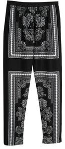 BCBGMAXAZRIA Wide Legs Relaxed Pants Black and White Scarf Print