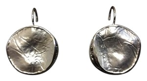 Other Silver Electro Coated Flat Round Leverback Earrings 24MM