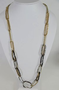 Other TWO TONE GOLD & SILVER BEADED FASHION DESIGNER NECKLACE 17