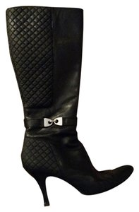 Anne Klein Leather Zip Up Zipper Quilted black Boots