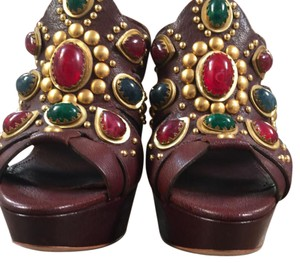 Miu Miu Brown and multicolored stones Platforms