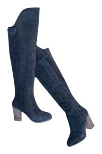Dolce Vita Over The Knee Suede Chunky Heel Charcoal Gray Boots