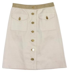 Tory Burch Cream Tan Cotton Logo Button Skirt
