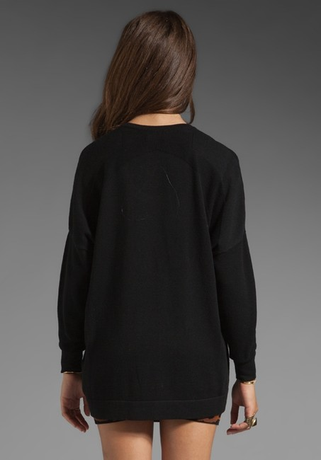 Torn by Ronny Kobo Oversized Graphic Print Soft Black Sweater