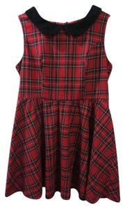 Hell Bunny short dress Plaid Red Heart Cutout Peter Pan Collar Modcloth Vintage on Tradesy
