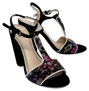 Plenty by Tracy Reese Black Print Suede Sandal Sandals