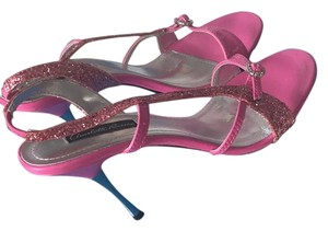 Charlotte Russe Pink Stiletto Glitter High Heel Fuschia Sandals
