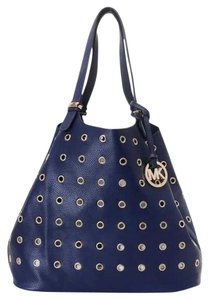 Michael Kors Gold Grommets Colgate Tote in Navy Blue