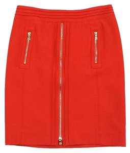 Tory Burch Coral Gold Zipper Wool Skirt