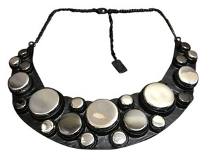 Other Matte Black and Silver E. Coated Bubble Necklace