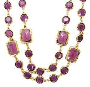 Chanel Vintage Purple Crystal Chicklet Gold Plated Necklace Sautoir