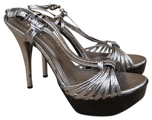 BCBGeneration Leather Metallic Wood Silver Sandals
