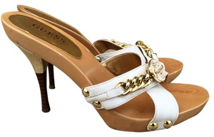 Guess Wood Slide On Gold Leather White Mules