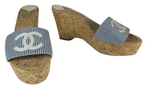 Chanel Leather Cork Cc Logo Wedge Sandals