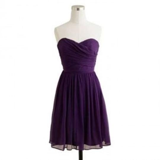 J.Crew Dark Eggplant (Purple) Silk Arabelle Feminine Bridesmaid/Mob Dress Size 2 (XS)