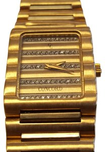 Concord Vintage Dameuri Watch 18k Yellow Gold Diamond Wristwatch